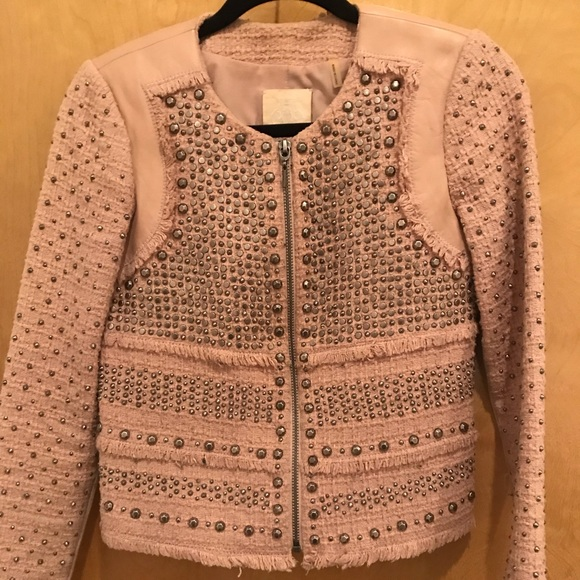 Rebecca Taylor Jackets & Blazers - Rebecca Taylor tweed/leather studded jacket